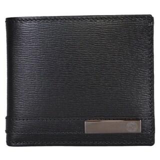 Gucci Men's 365479 Black Leather GG Bar Logo Bifold Wallet
