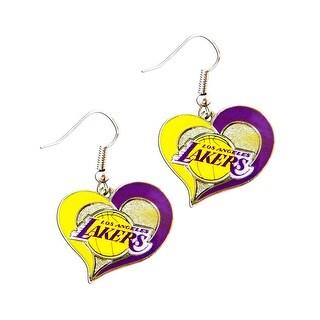 NBA LOS Angeles Lakers Swirl Heart Shape Dangle Logo Earring Set Charm Gift