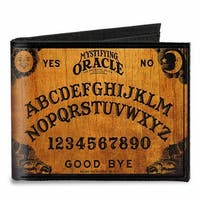 Mystifying Oracle Ouija Board Elements Wood Black Canvas Bi Fold Wallet One Size - One Size Fits most