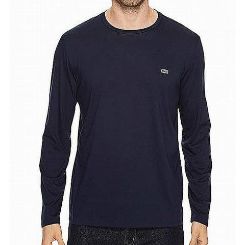 Lacoste Mens T-Shirt Blue Size Small S Long Sleeve Embroidered Tee
