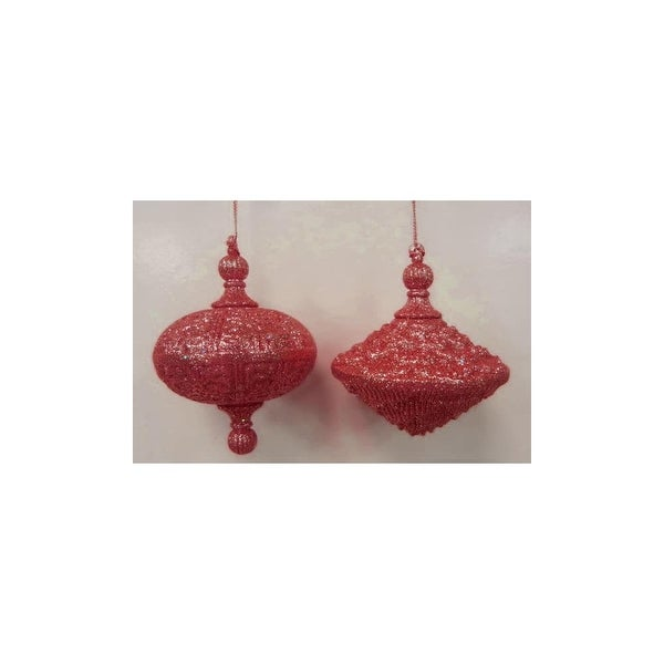 Christmas at Winterland WL-OVDROP-2PK-RE 2 Oval Drop Ornaments Red - N/A