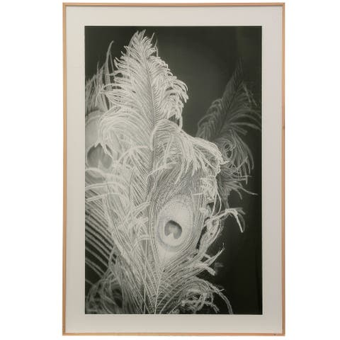 StyleCraft Peacock Floral Two Black and White Copper Aluminum Framed Print