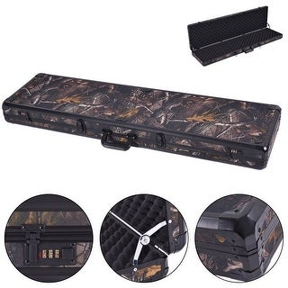 Costway New 49'' Long Aluminum Locking Rifle Gun Case Lock Shotgun Storage Box Carry Camo - Camouflage