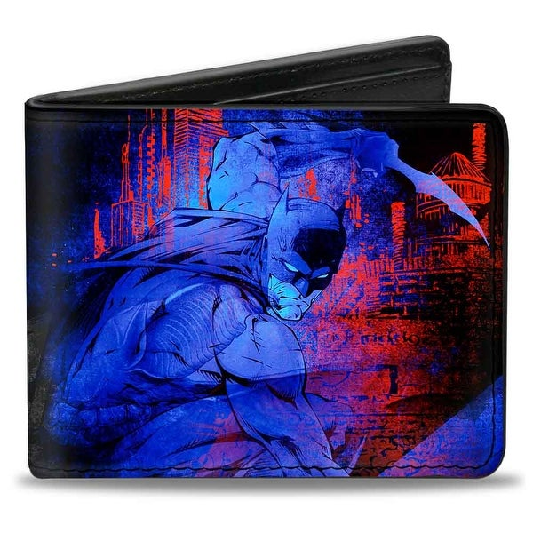 Batman Action + Joker Flipping Cards Poses Black Blues Reds Bi Fold Wallet - One Size Fits most