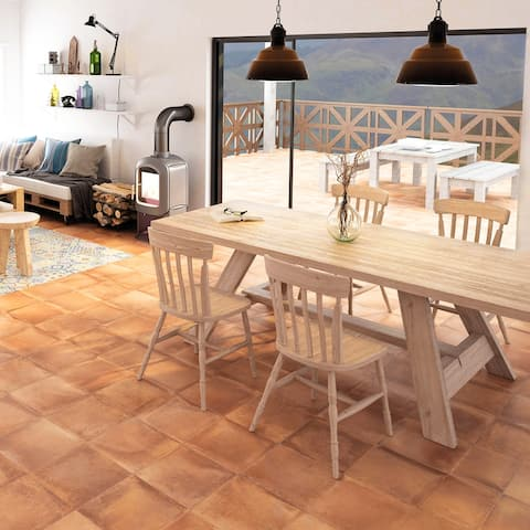 """SomerTile Rustic Cotto 13"""" x 13"""" Porcelain Floor and Wall Tile"""