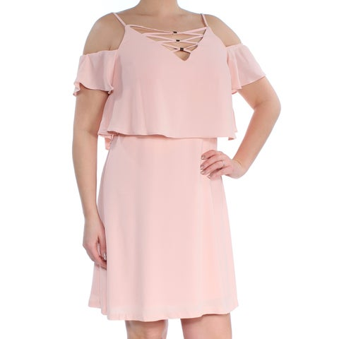JESSICA SIMPSON Womens Pink Cold Shoulder Lace-up V Neck Above The Knee A-Line Dress Size: L