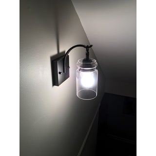 Anastasia Antique Black Single Light Wall Sconce with Clear Glass Shade
