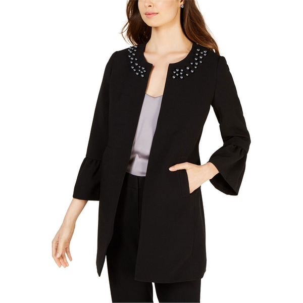 Nine West Womens Embellished Blazer Jacket, black, 8. Opens flyout.