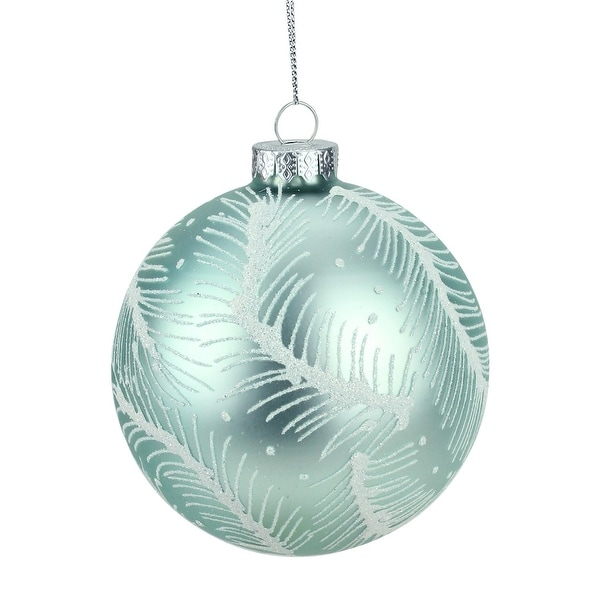 """4"""" Matte Mint Green and White Glitter Feathers Glass Ball Christmas Ornament"""