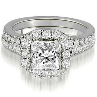 1.17 CT.TW Halo Princess And Round Cut Diamond Bridal Set - White H-I (More options available)