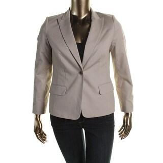 Calvin Klein Womens Petites Peak Collar Long Sleeves One-Button Blazer - 6P
