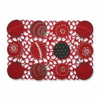 "Set of 2 Red, Gold and Green Christmas Ornament Embroidered Rectangular Placemats 19"" - Red"