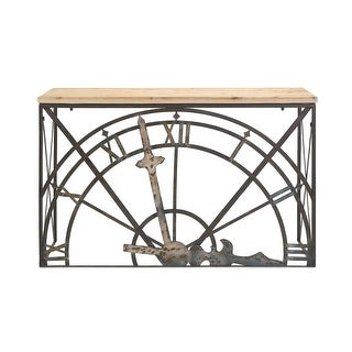 orasan wrought iron and fir wood half clock console table