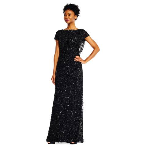 f0e6e7dd2a28c Adrianna Papell Women's Short Sleeve Sequin Beaded Gown with Cowl Back,  Black, ...
