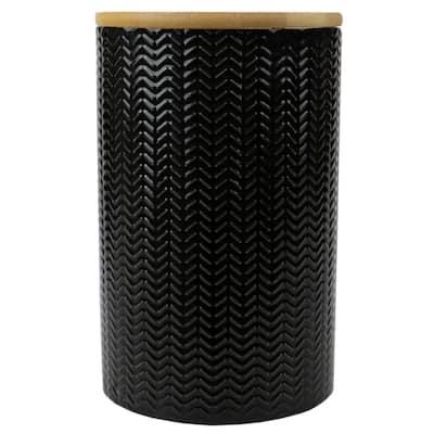 Wave Large Ceramic Canister, Black