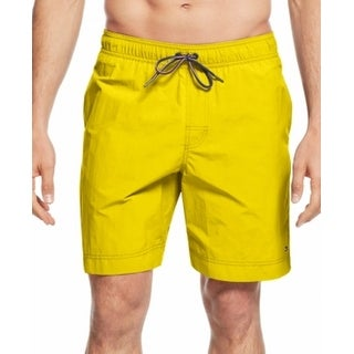Tommy Hilfiger NEW Bright Yellow Mens Size 2XL Front-Tie Board Shorts