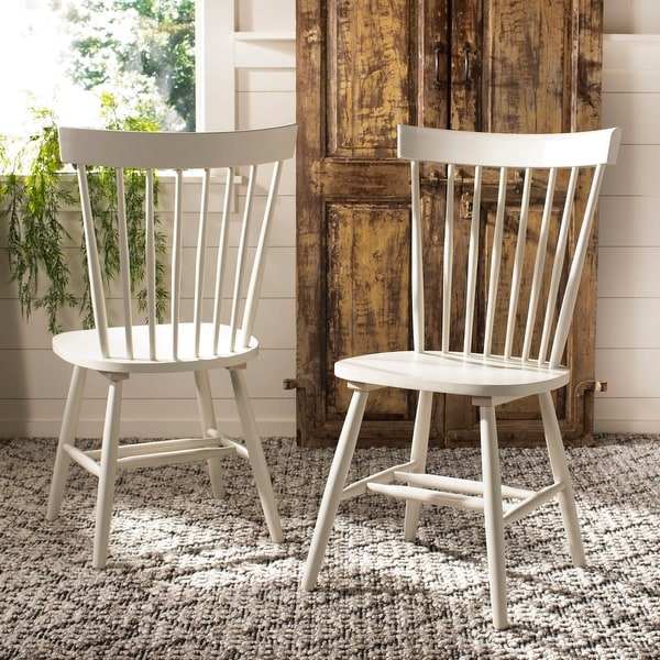 """Safavieh Dining Country Lifestyle Spindle Back Off White Dining Chairs (Set of 2) - 20.5"""" x 21"""" x 36"""". Opens flyout."""
