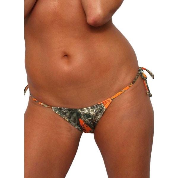 ebf667be6 Women  x27 s Orange Camo Authentic True Timber Bikini Tie Side Thong Only  Beach