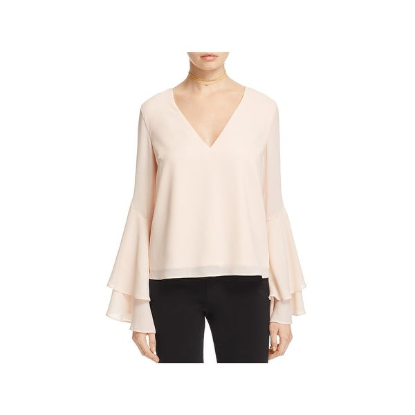 Shop Cameo Womens Blouse Tiered Bell Sleeves L Free Shipping