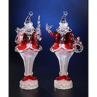 "Pack of 2 Icy Crystal Decorative Illuminated Round Santa Figures 13.5"""