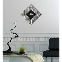 "Statements2000 Black/Silver Modern Metal Wall Clock Art Accent Decor by Jon Allen - Prediction Clock - 17"" x 17"""