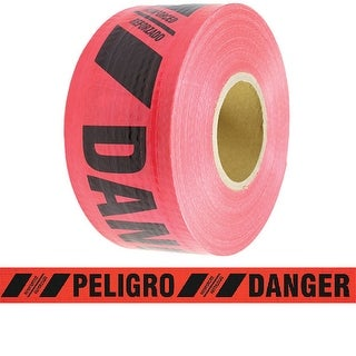 "Reinforced Barricade Tape Danger/Peligro 3"" x 500' 7 mil 8 Roll Case"