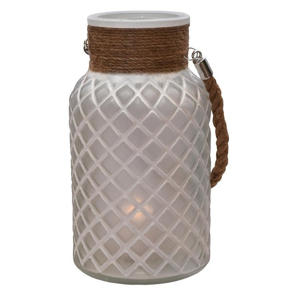 "10"" White Diamond Texture Decorative Glass Pillar Candle Holder Lantern with Handle"