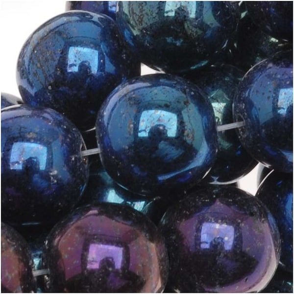 Czech Glass Druk Round Beads 8mm Blue Iris (25). Opens flyout.