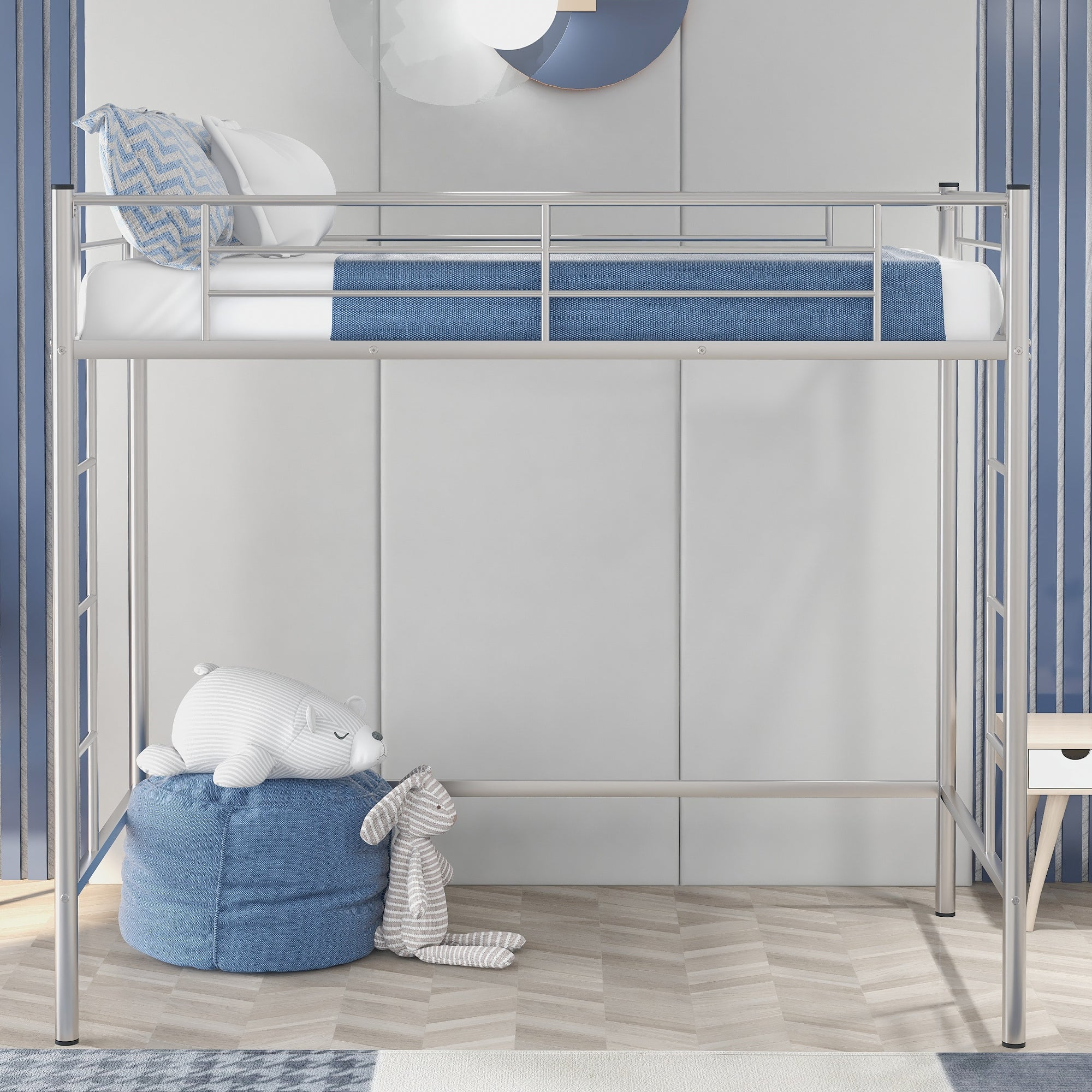 Image of: Shop Twin Loft Bed With Sturdy Steel Frame And Two Side Ladders On Sale Overstock 31990008 Silver