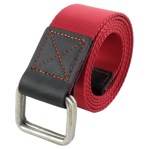 Unisex Athletic Casual Nylon Adjustable Canvas Web Waist Belt Red
