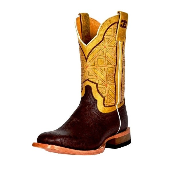 Cinch Western Boots Mens Edge Square Elephant Print Brown