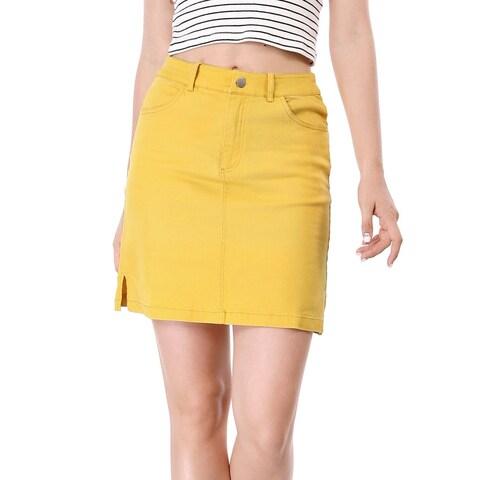 Allegra K Women Zip Fly Slit Sides Above Knee Straight Skirt