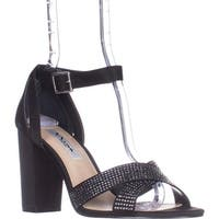 Nina Shelly Ankle-Strap Evening Sandals, Black Luster