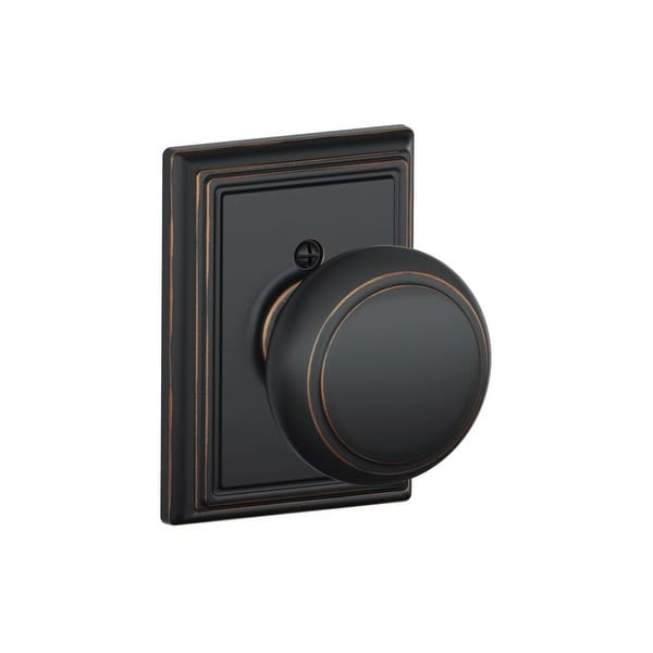 Schlage F170-AND-ADD Single Dummy Andover Door Knob with the Decorative Addison Rose - N/A