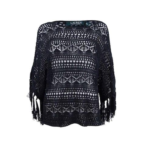 Lauren Ralph Lauren Women's Sheer Crochet Poncho Sweater - Polo Black