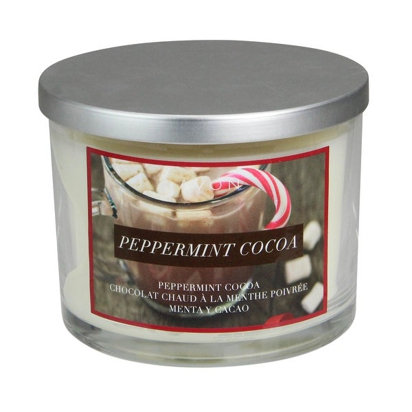 """4"""" Silver and White Peppermint Cocoa 3-Wick Jar Candle - 3-inchx5-inch"""