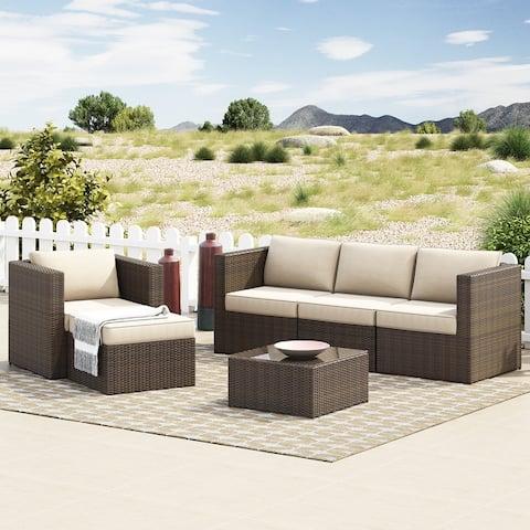 Corvus Trey Outdoor 6-piece Aluminum Resin Wicker Sofa Set