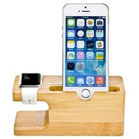 Wood Stand Charging Station Cradle Holder For IPhone For Apple Watch dock Bamboo