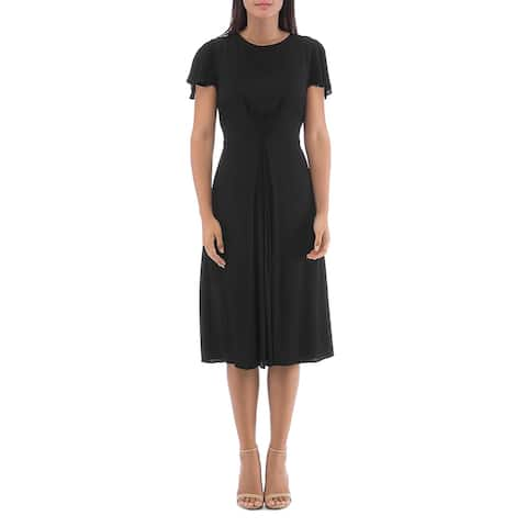 Bobeau Womens Midi Dress Inverted Pleat Scoop Neck - Black