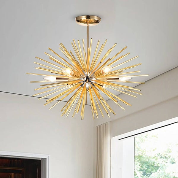 Lorena Sputnik Chrome and Frosted Gold Industrial Chandelier - 19.7 inches Width x 23.6 inches H. Opens flyout.