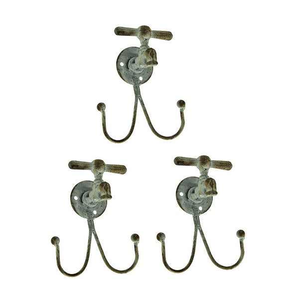 Distressed White T-Handle Water Spigot Double Wall Hook Set of 3 - 5.25 X 4.25 X 3 inches