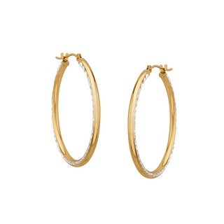 Medium Diamond-Etched Hoop Earrings in 10K Gold-Bonded Sterling Silver - Two-tone