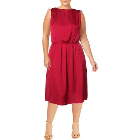 Vince Camuto Womens Plus Shift Dress Handkerchief Hem V-Neck - Wild Hibiscus