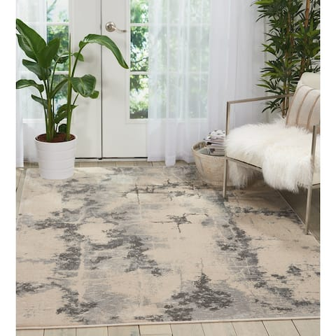 kathy ireland Heritage Abstract Modern Beige Grey Area Rug