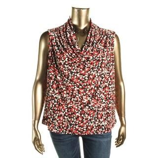 Kasper Womens Plus Pullover Top Drape Neck Printed