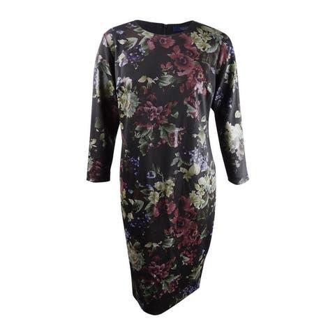 Rachel Rachel Roy Women's Plus Floral Printed Sheath Dress - Black Combo