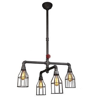 Sputnik Industrial 4-Light Iron Pipe Chandelier with Cage