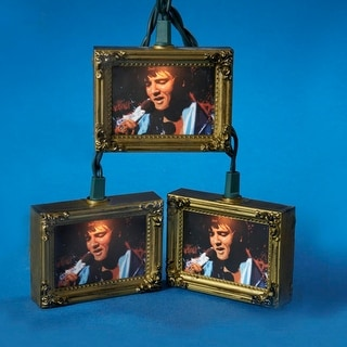 Set of 10 Elvis Singing Picture Frame Novelty Christmas Lights-Green Wire
