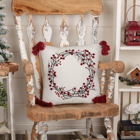 Wreath Pom Pom Pillow 18x18