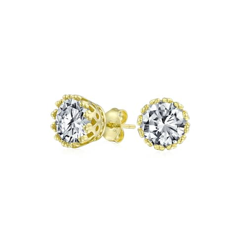 Brilliant Crown CZ Stud Earrings Rose Gold Plated Sterling Silver